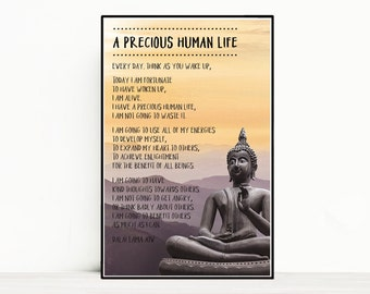 Quote Poster - Dalai Lama - A Precious Human Life