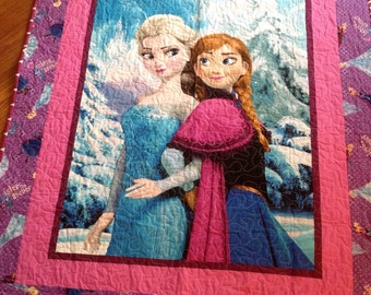Anna Elsa quilt-- toddler, baby, crib, bed -- pink, blue, purple