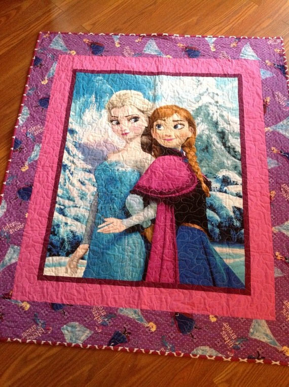 Anna Elsa Quilt Toddler Baby Crib Bed Pink Blue