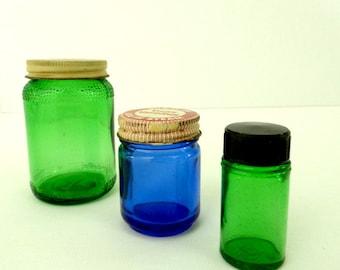 Vintage Glassware, Cobalt Blue Glass, Set of 3,  Jar Collection, Green Glassware, Apothecary Jars