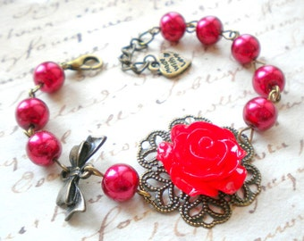 Red Bracelet Red Pearl Bracelet Romantic Bracelet Red Rose Bracelet Flower Bracelet Romantic Jewelry Red Bridesmaid Bracelet Bow Bracelet