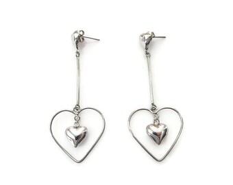 Sterling Heart Earrings, Heart Drops, Silver 925, Chandelier Earrings, Modernist Jewelry, Vintage Earrings, Vintage Jewelry