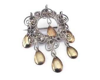 Solje Silver Gold Brooch - Silver 830s, Vermeil Gold, Norwegian Norway, Wedding Jewelry, Vintage Brooch, Solje Brooch, Vintage Solje