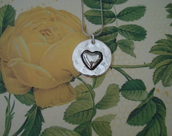 Silvertone Shiny Disc Necklace HEART LOVE Pendant / Reversible Pendant / Love/ Stamped Metal Necklace
