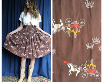 50's Skirt / Novelty Cinderella Printed Skirt / Horse Drawn Carriage / Size Extra Small / Conversation Print / Brown Orange Yellow / Bridal
