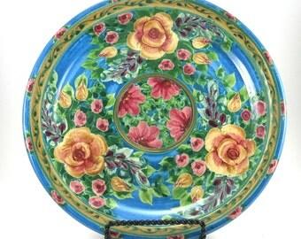 """Blue Porcelain Dinner Plate - Ceramic Serving Platter - 10"""" in diameter -Rose Floral Design"""