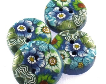 4 Colorful Handmade Polymer Clay Buttons 3/4 inch, Flower Design