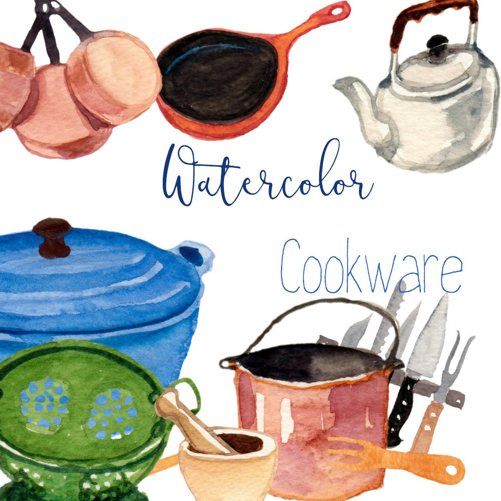 Watercolor Cookware Tools Kitchen Clipart tools clipart