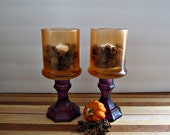 Upcycled Glass Holders - Purple and Orange - Set of 2 - Halloween, Fall, Autumn, Thanksgiving, Entertaining, Boho Home Decor