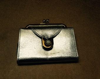 Paul Stuart Original Small Change Purse Billfold Gold & Silver Lame