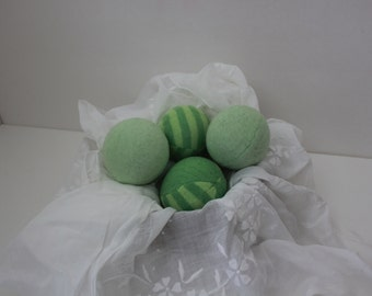 Wool Dryer Balls,  set of 4 from Repurposed Holiday Sweaters in Green and Stripes