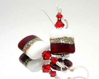 Red and White Earrings, Lampwork Earrings, Square Earrings, Nugget Earrings, Glass Bead Earrings, Holiday Earrings, Christmas Earrings