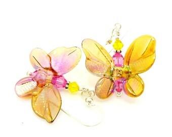 Yellow & Pink Butterfly Earrings, Lampwork Earrings, Whimsical Glass Bead Earrings, Beadwork Earrings, Nature Earrings, Butterfly Jewelry