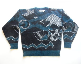 Vintage 80s 90s graphic knit sweater