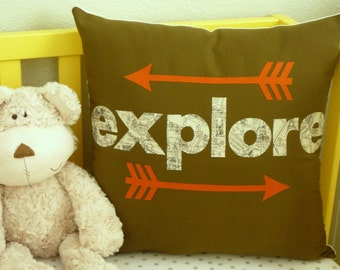 Explore - Arrows - Pillow Cover - Map - Decorative Pillow - Nursery Decor