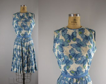 1960s Vintage Dress  l 60s Novelty Print Butterfly Dress