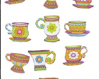 12 Assorted Mugs and Cups Fabric Iron On Appliques
