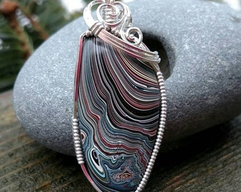 Vintage Fordite wrapped in argentium silver