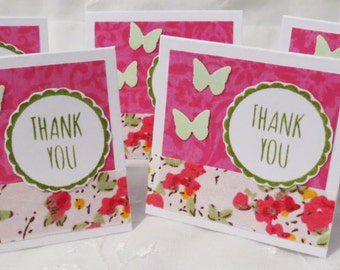 Mini Thank You Cards Pink with Green Butterflies 25