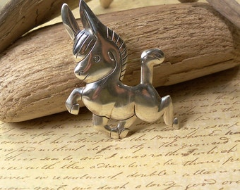 50s Vintage Bell Sterling Silver Donkey, Burro, Horse Novelty Pin