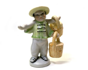 Vintage Chinese Boy with Asian Shoulder Yoke Salt and Pepper Shaker Made in Japan Cork Stopper