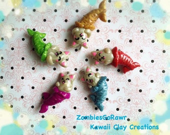 Purrmaid Mermaid Cat Mercat Kawaii Handmade Polymer Clay Charm