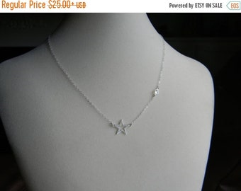 Vday Sale Sterling Silver, Star And Crystal Necklace, Glee Inspired, Worn by Rachel Berry, Lea Michele, Finn Hudson Gift, Shooting Star