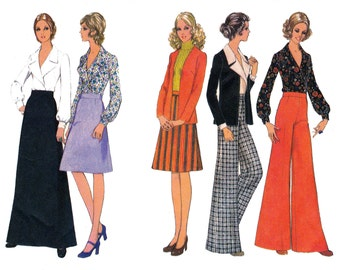 70s Flares, Skirt, Blouse Cardigan Pattern Style 3678 Maxi Boho Separates Vintage Sewing pattern Size 10 Bust 32 1/2 inches