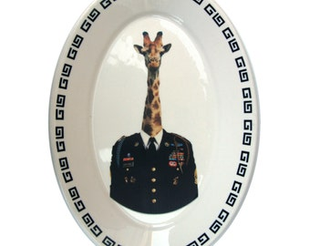 Command Sergeant Giraffidae  - Altered Vintage Plate 13.5""