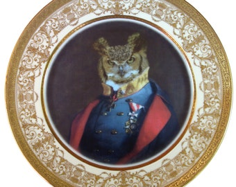 Captain Strigiformes Portrait - Altered Antique Plate 11""