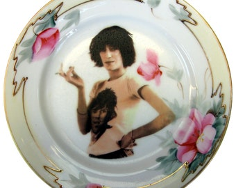 Patti Smith Portrait Plate - Altered Vintage Plate 5.5""