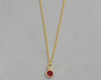 January Birthstone- Siam Gold Plated Drop Necklace