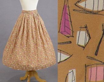1950s Novelty Print Skirt, 50s Skirt, Canoe Row Boat Novelty Print Skirt, 1950s Cotton Skirt XS