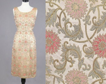 1960s Cocktail Dress, 60s Dress, Floral Silk Brocade Dress, Dynasty Hong Kong British Crown Colony