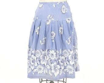 1950s Skirt, 50s Floral Skirt, Vintage Sunflower Print Skirt, XS