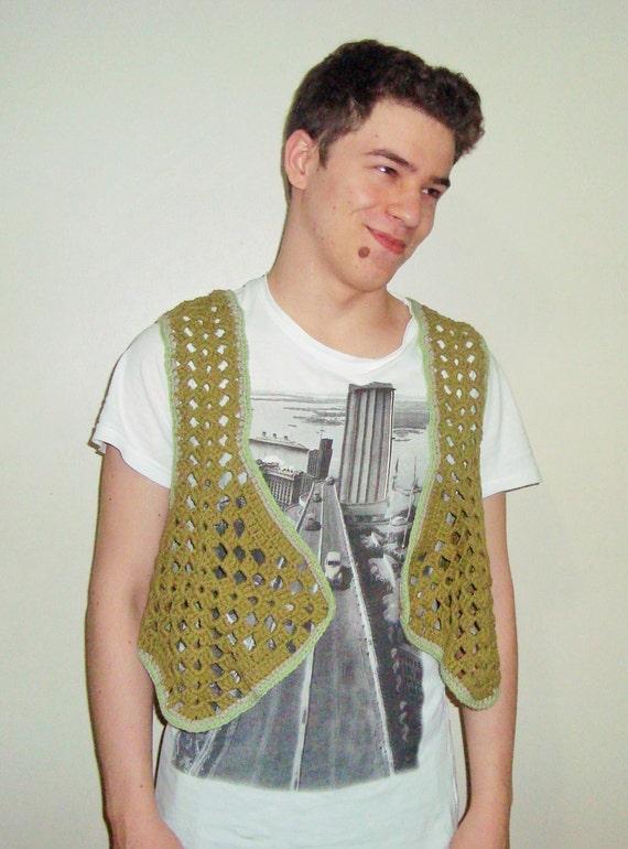 Festival Clothing Men, Festival Vest, Burning Man Clothing, Mens Hippie Clothing, Crochet Vest, music festival vest, mens festival tops