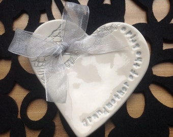 Silver grey grandmother of the bride groom ring plate keeper thank you ceramic heart gift