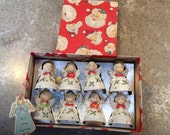 RESERVED for DAWN Vintage Christmas Kreiss Angel Porcelain Figurine Japan Miniature Bell Set of 8 Box Hang Tag Feather Tree Ornament
