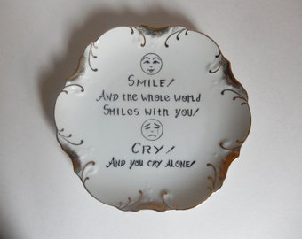 Mid Century Decorative Porcelain Plate with Wisdom Quote
