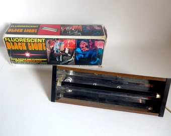 Vintage 1970's Fluorescent Black Light for Mod & Psychedelic Posters - Stands and Hangs - Works