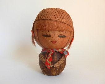 Vintage 1970's Japanese Coconut Kokeshi Girl Doll Statue