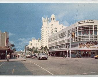 Lincoln Road Collins Avenue Street Scene Cars Miami Beach Florida 1950s postcard