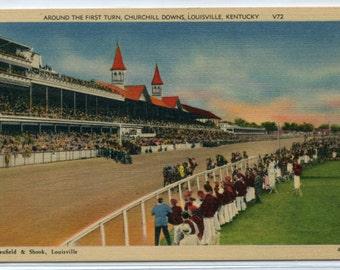 Horse Racing Churchill Downs Louisville Kentucky linen postcard