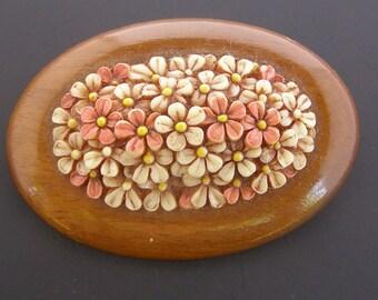 Vintage Celluloid Flower Brooch, Celluloid Wood Brooch, Vintage Plastic Pin