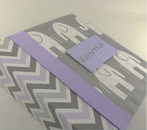 Girl Baby Memory Book Purple Chevron with Elephant by ...