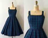 RESERVED LISTING -- 1950s Vintage Dress - 50s Lanz Quilted Plaid Jumper Dress