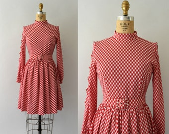 1960s Vintage Dress - 60s Red Gingham Dress