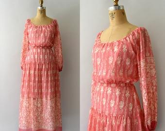 1970s Vintage Dress - 70s Coral Floral Cotton Maxi Dress