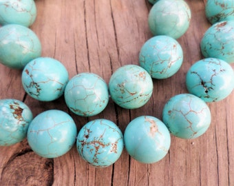 Turquoise Magnesite Round Beads 14mm Full Strand LAST ONE