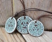 Celtic Knot Triskele Pendant ceramic pendant green blue brown Triskelion Boho Jewelry Earthy Rustic Jewelry brown leather cord Celtic Gift